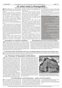 Fiktive Zeitungsseite erschienen am 08.05.2007. Wunschträume darüber wie alternative Wohnformen in Potsdam gefördert werden könnten.